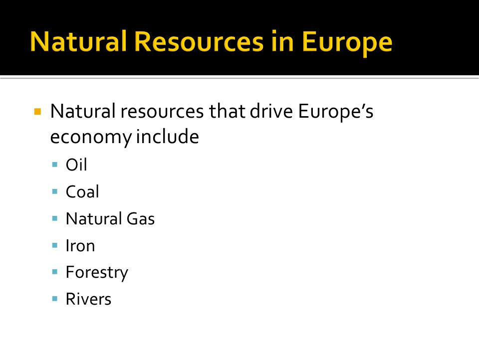 Natural Resources in Europe