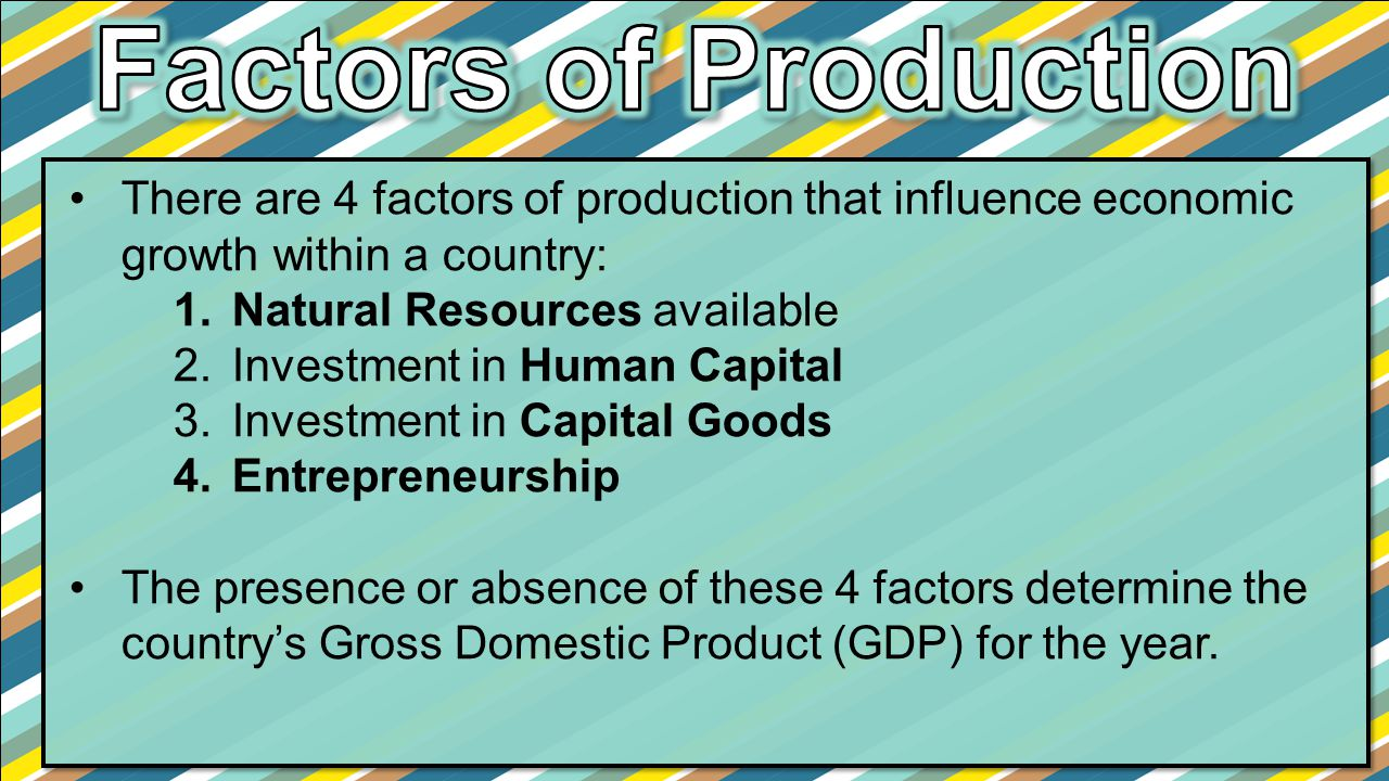 Factors of Production There are 4 factors of production that influence economic growth within a country: