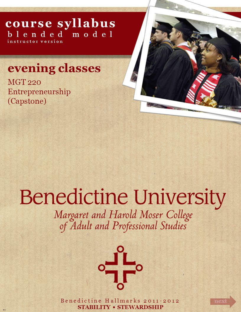 course syllabus evening classes blended model MGT 220