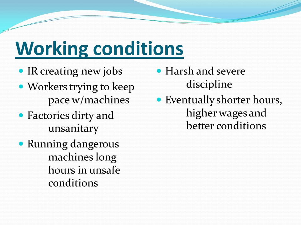 Working conditions IR creating new jobs