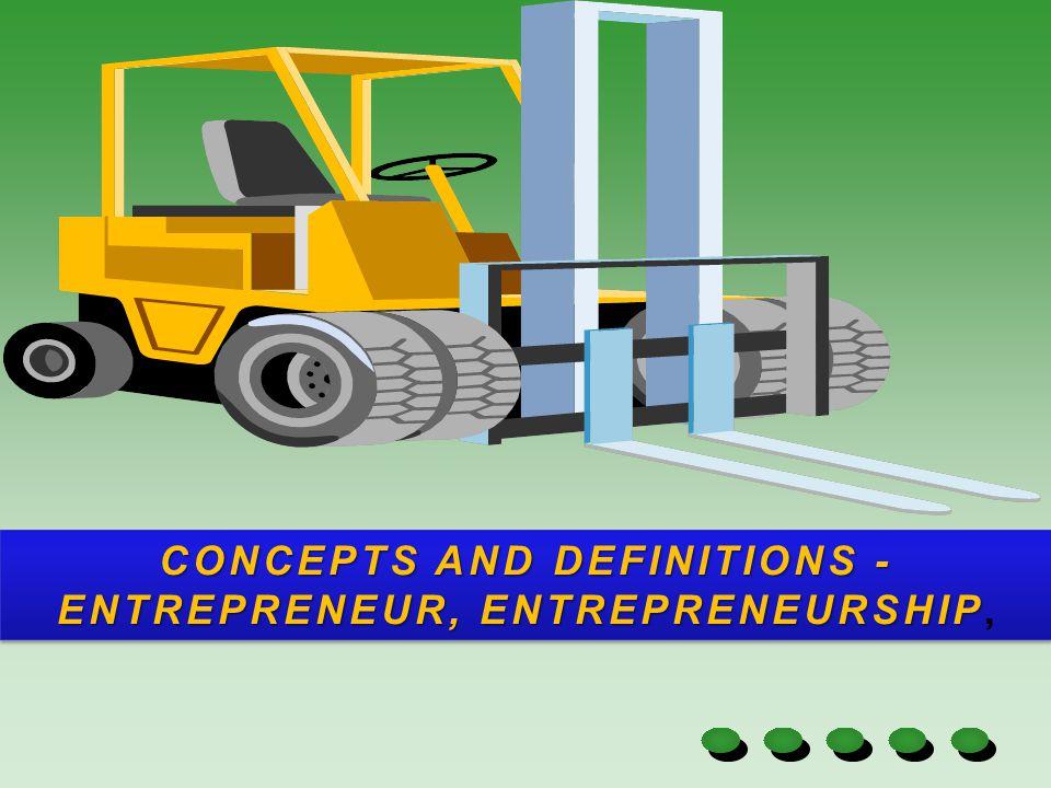 CONCEPTS AND DEFINITIONS -ENTREPRENEUR, ENTREPRENEURSHIP,