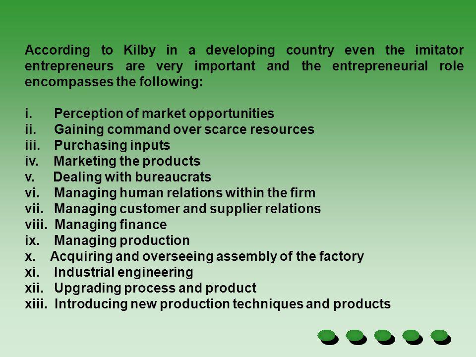 i. Perception of market opportunities