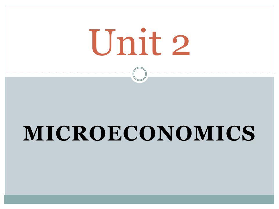 Unit 2 MICROECONOMICS