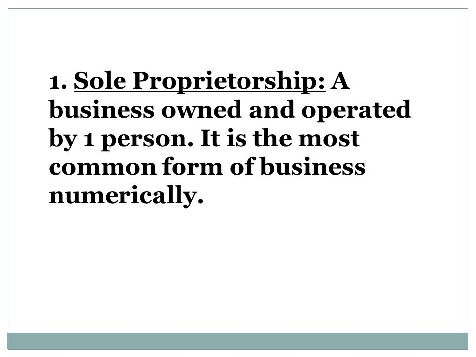 1. Sole Proprietorship: A business owned and operated by 1 person