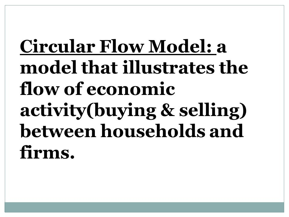 Circular Flow Model: a model that illustrates the flow of economic activity(buying & selling) between households and firms.