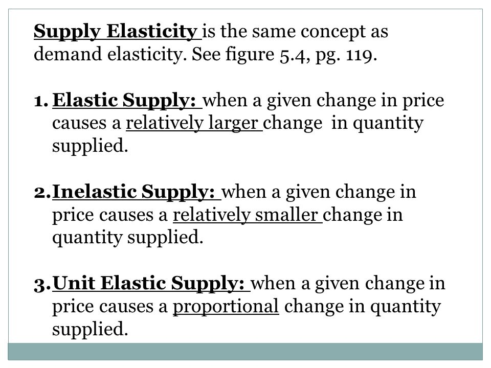 Supply Elasticity is the same concept as demand elasticity