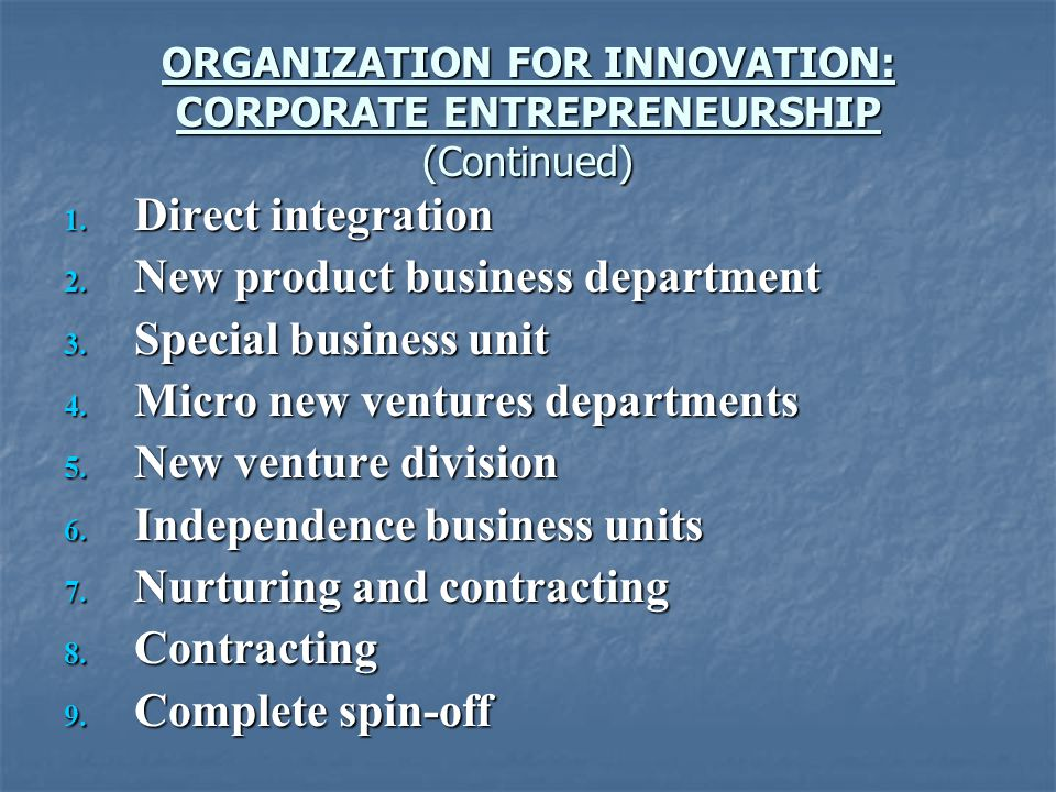 ORGANIZATION FOR INNOVATION: CORPORATE ENTREPRENEURSHIP (Continued)