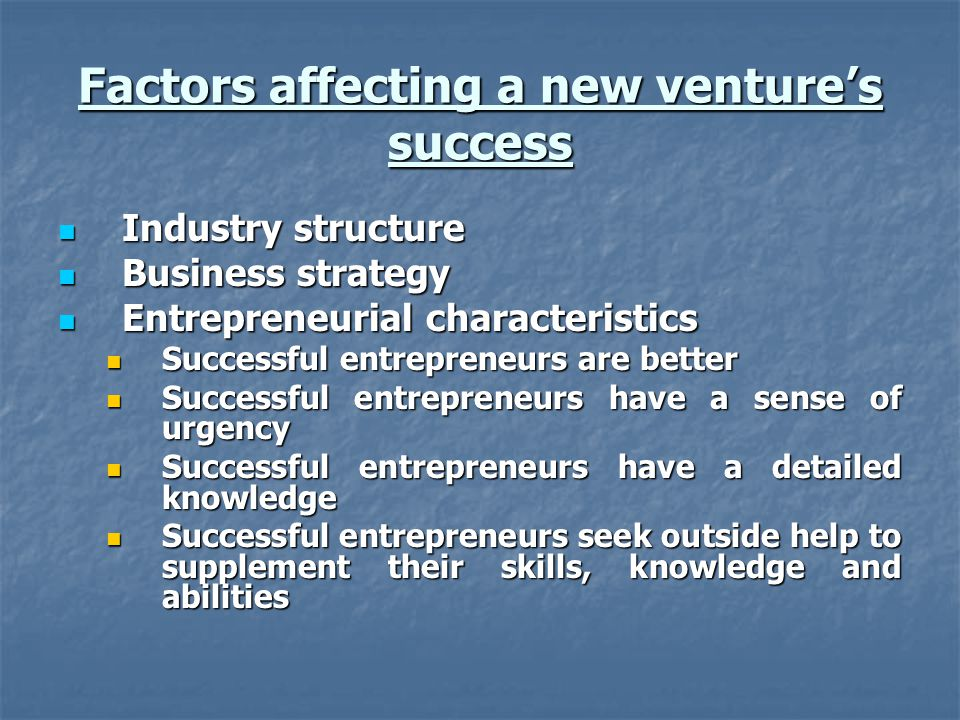Factors affecting a new venture's success