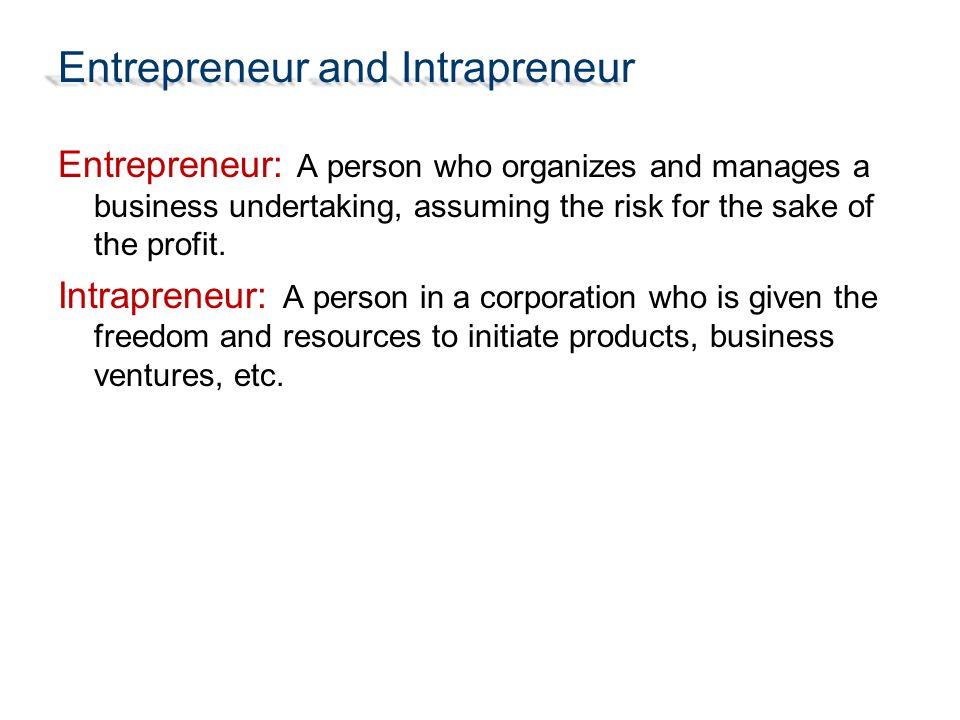 Entrepreneur and Intrapreneur
