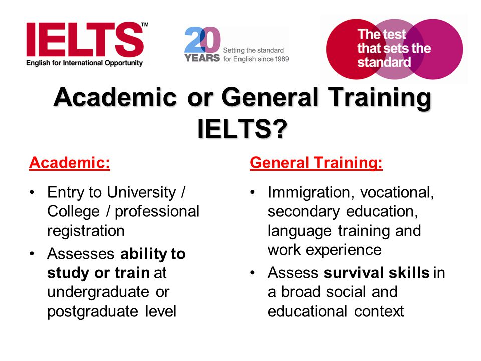 Academic or General Training IELTS