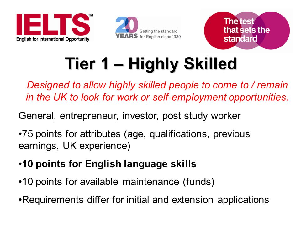 Tier 1 – Highly Skilled Designed to allow highly skilled people to come to / remain in the UK to look for work or self-employment opportunities.