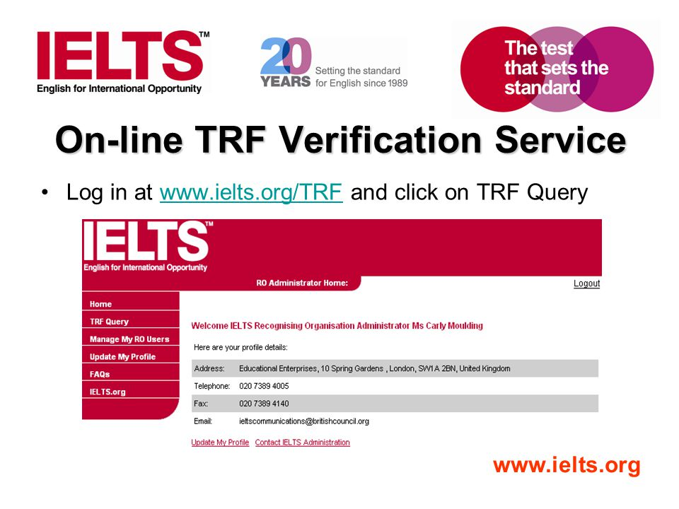 On-line TRF Verification Service