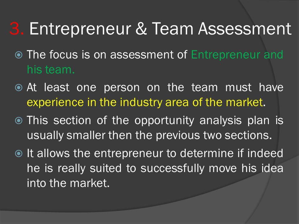 3. Entrepreneur & Team Assessment