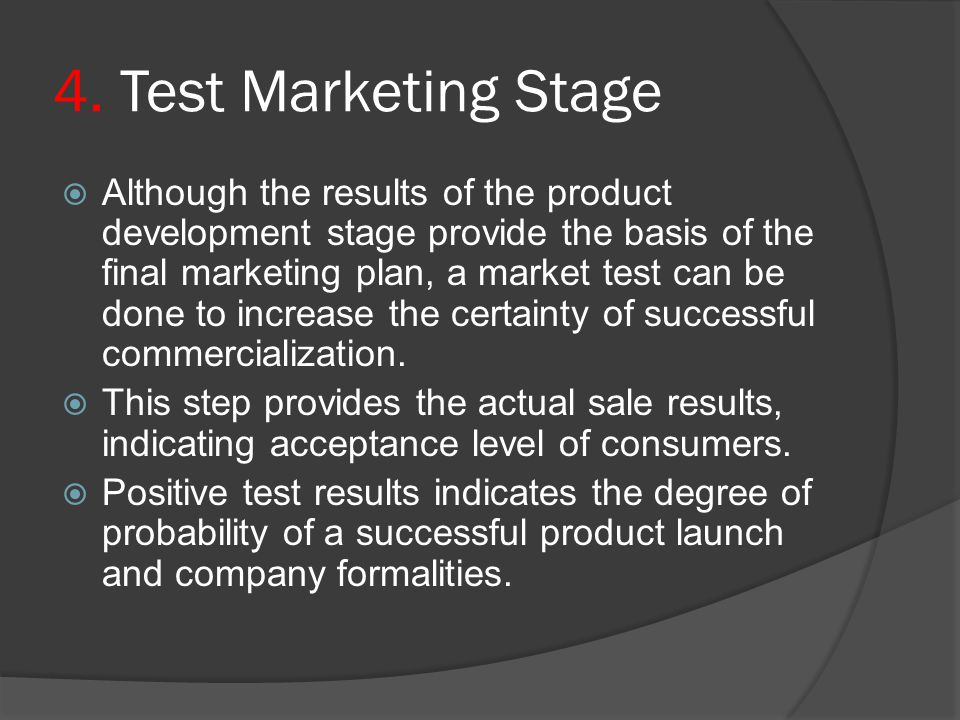 4. Test Marketing Stage