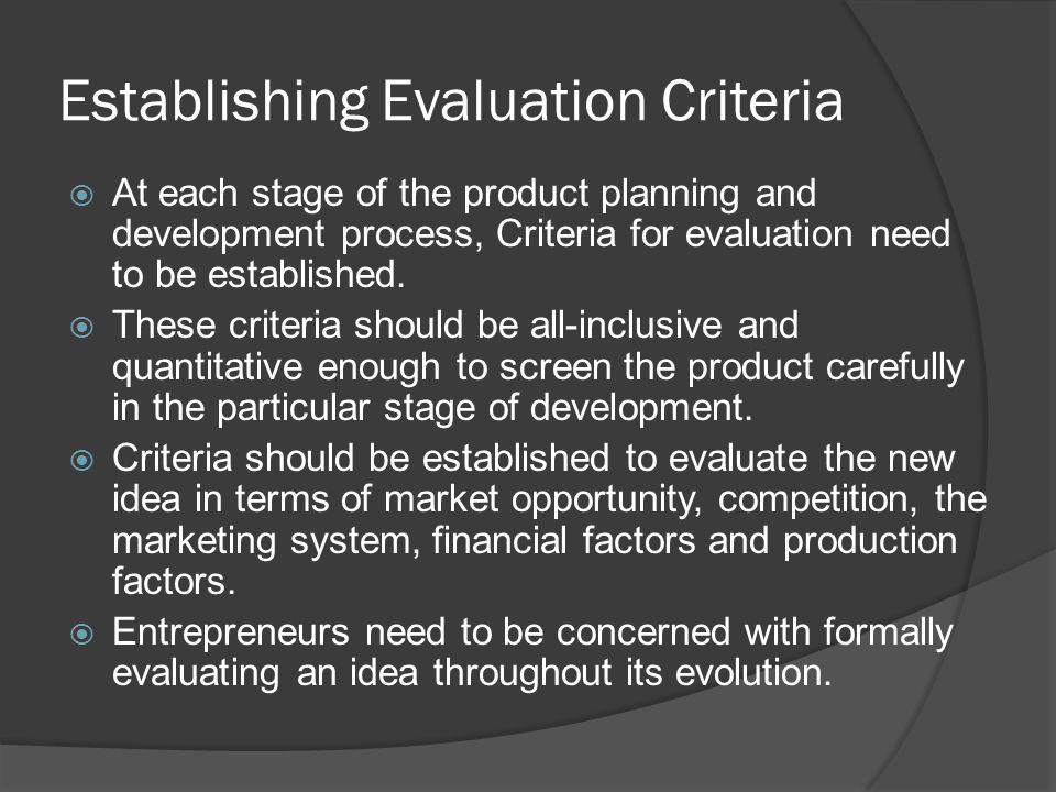 Establishing Evaluation Criteria