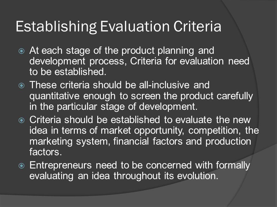 Establishing Evaluation Criteria
