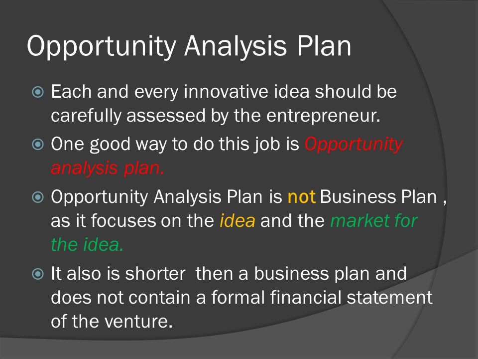 Opportunity Analysis Plan