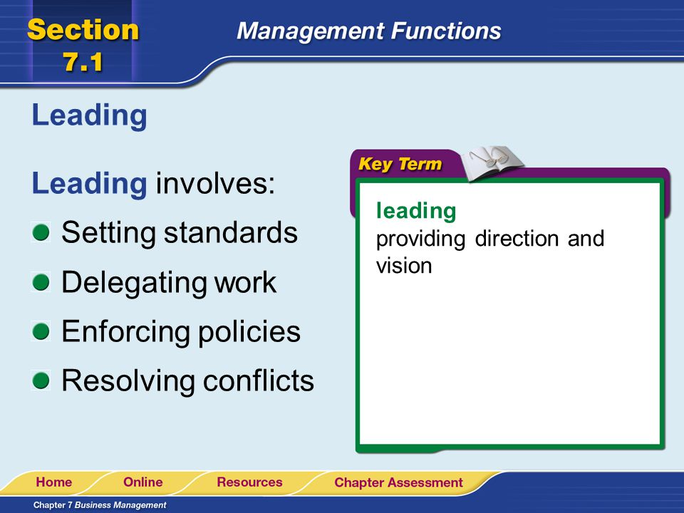 Leading Leading involves: Setting standards Delegating work