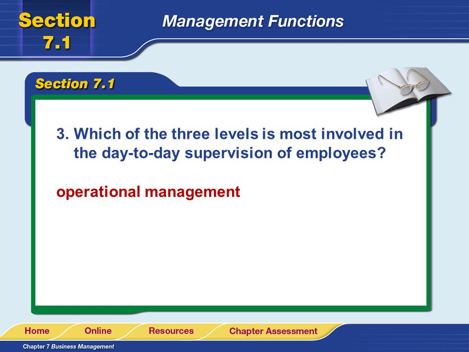 Which of the three levels is most involved in the day-to-day supervision of employees