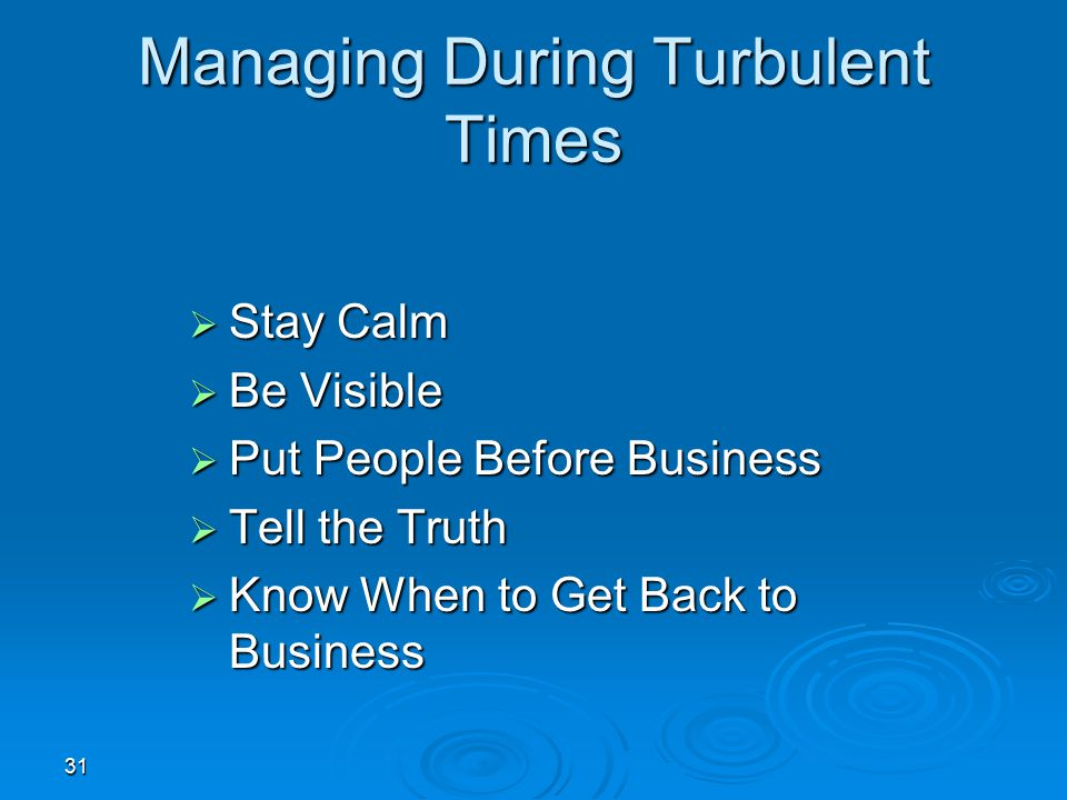 Managing During Turbulent Times