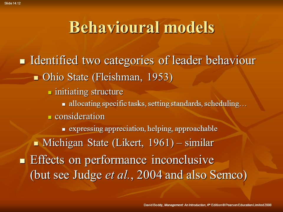 Behavioural models Identified two categories of leader behaviour