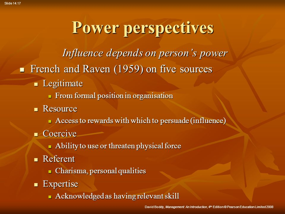 Influence depends on person's power