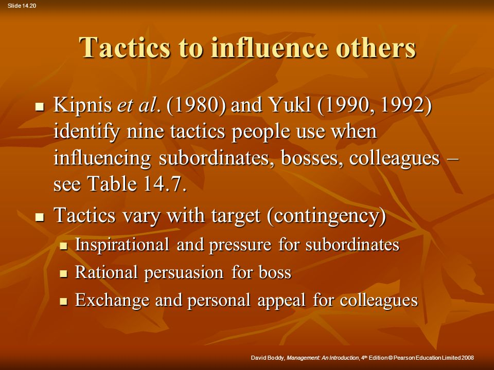 Tactics to influence others
