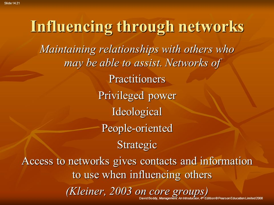 Influencing through networks
