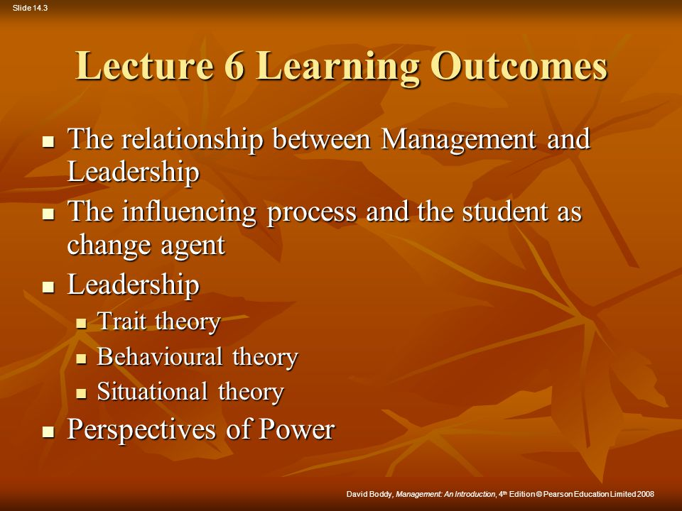 Lecture 6 Learning Outcomes