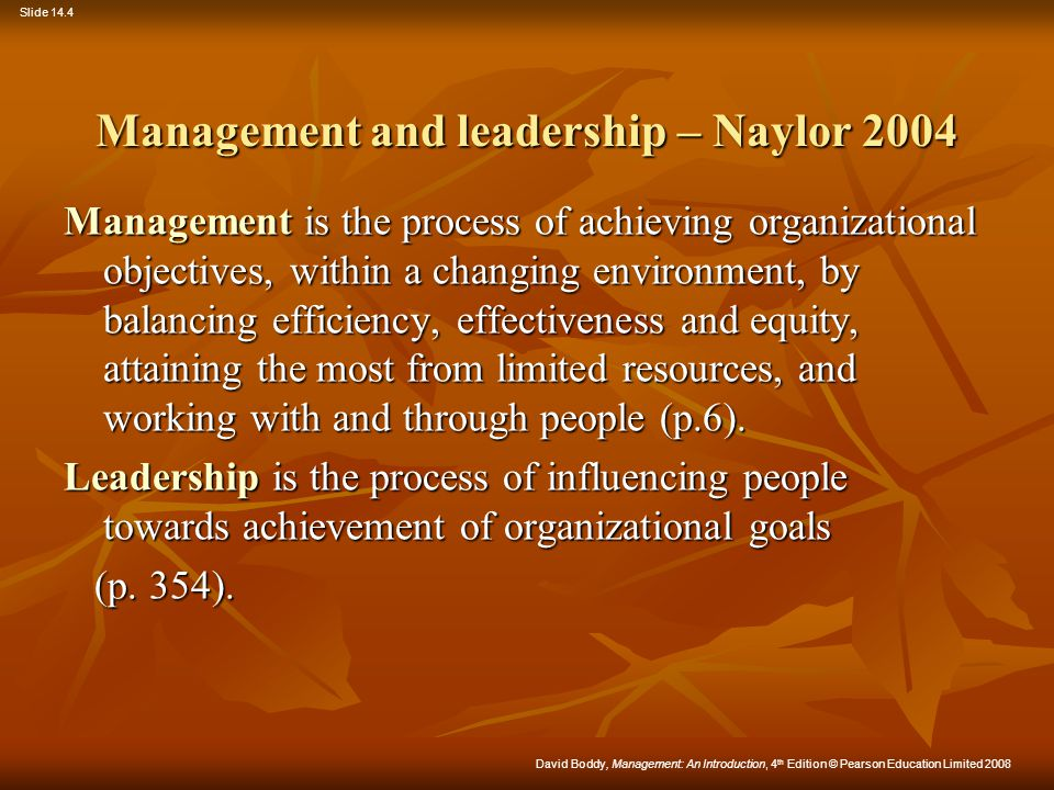 Management and leadership – Naylor 2004