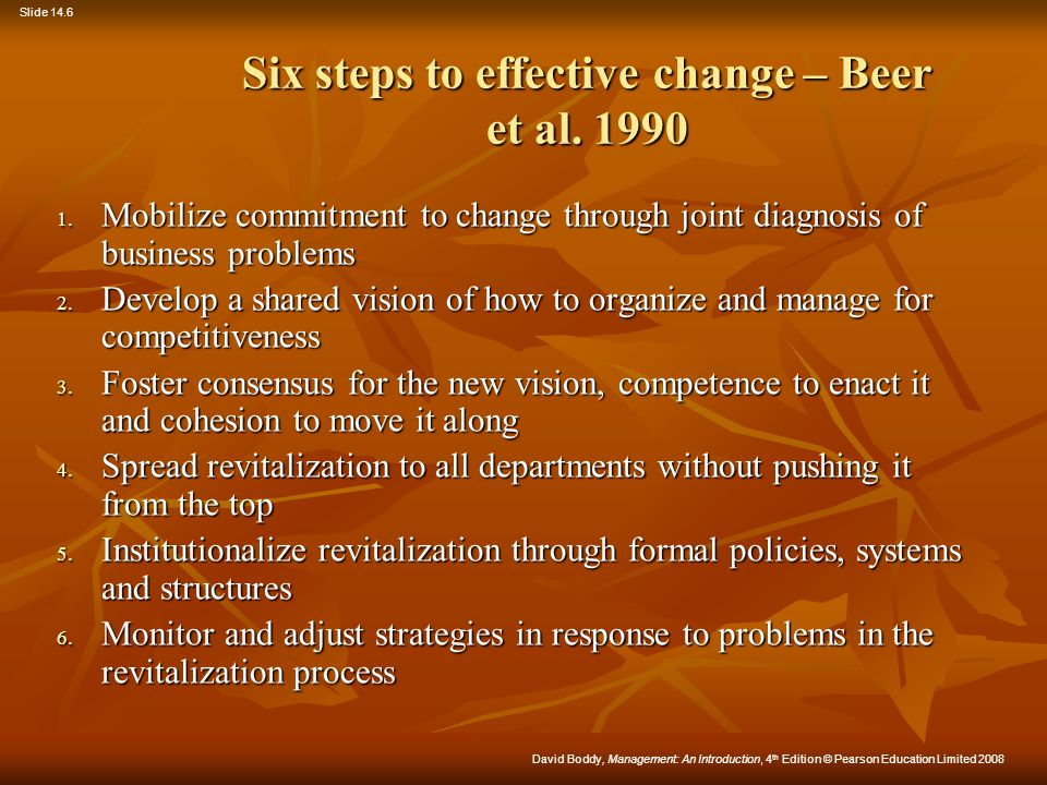 Six steps to effective change – Beer et al. 1990