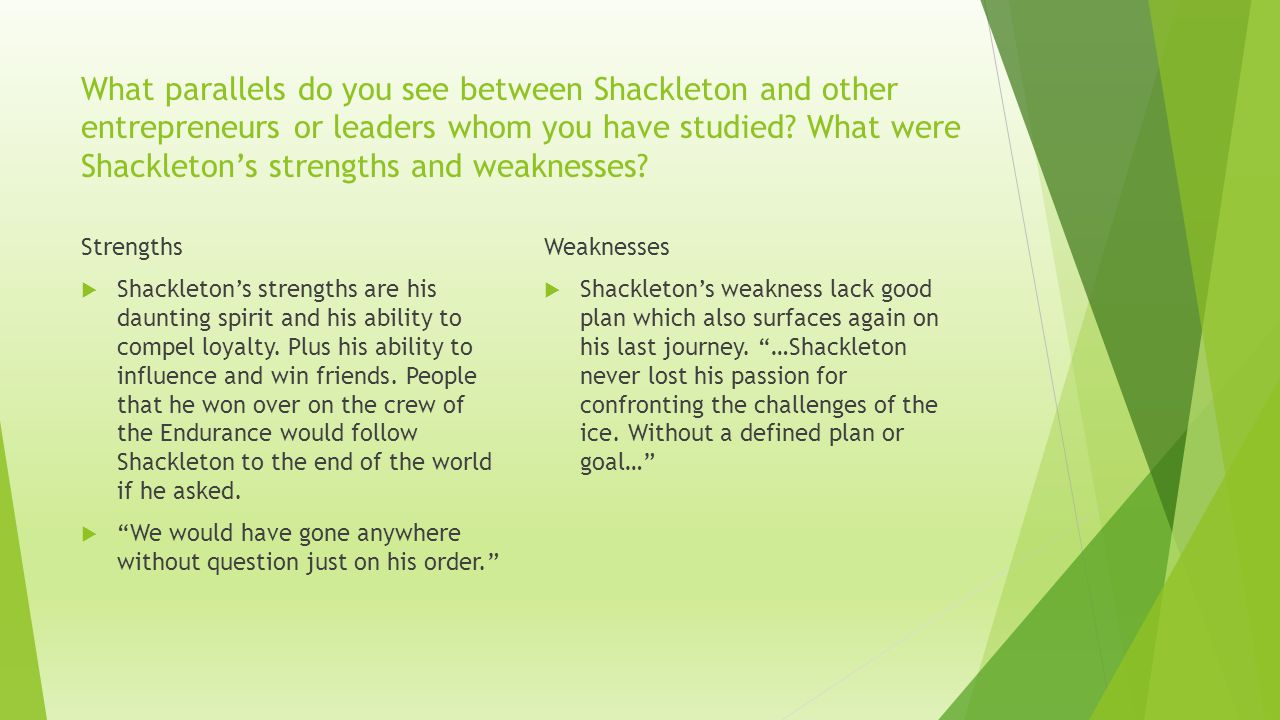 What parallels do you see between Shackleton and other entrepreneurs or leaders whom you have studied What were Shackleton's strengths and weaknesses