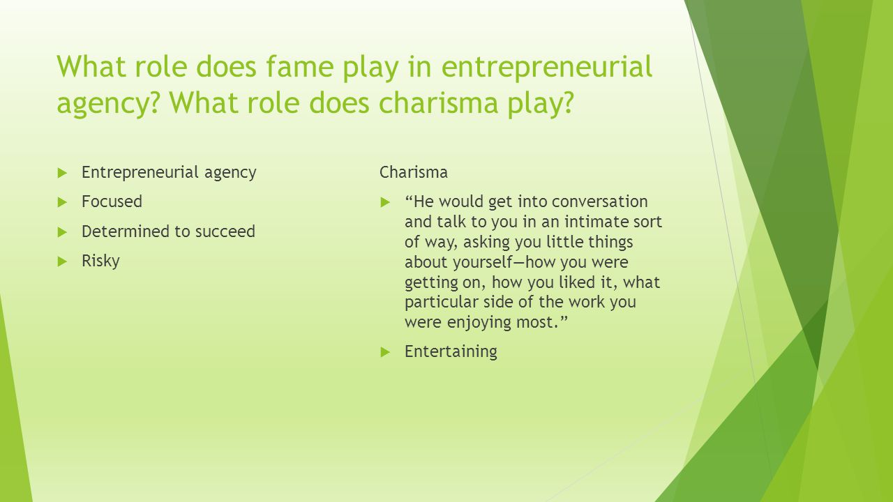 What role does fame play in entrepreneurial agency
