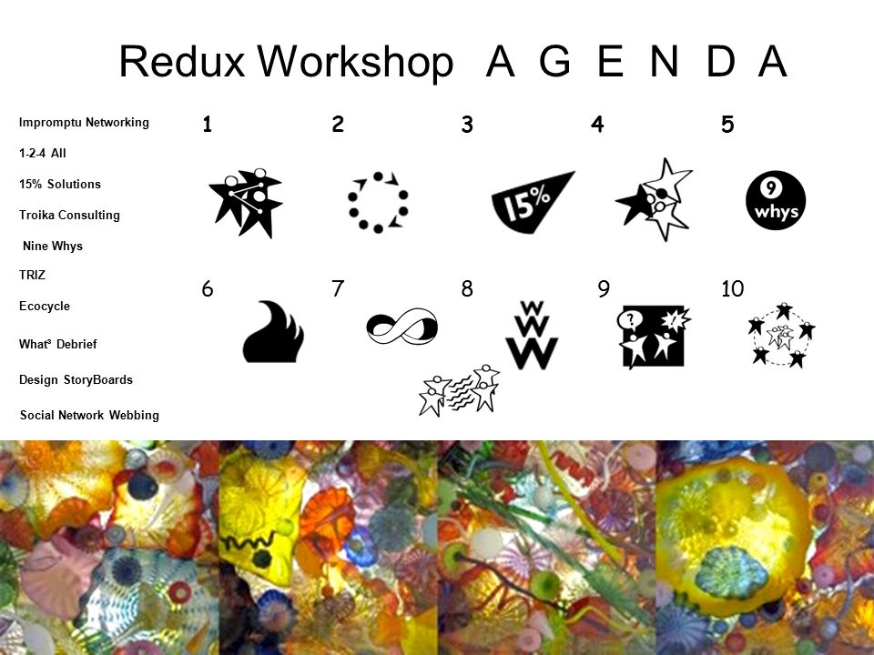 Redux Workshop A G E N D A 1 2 3 4 5 6 7 8 9 10 A G E N D A