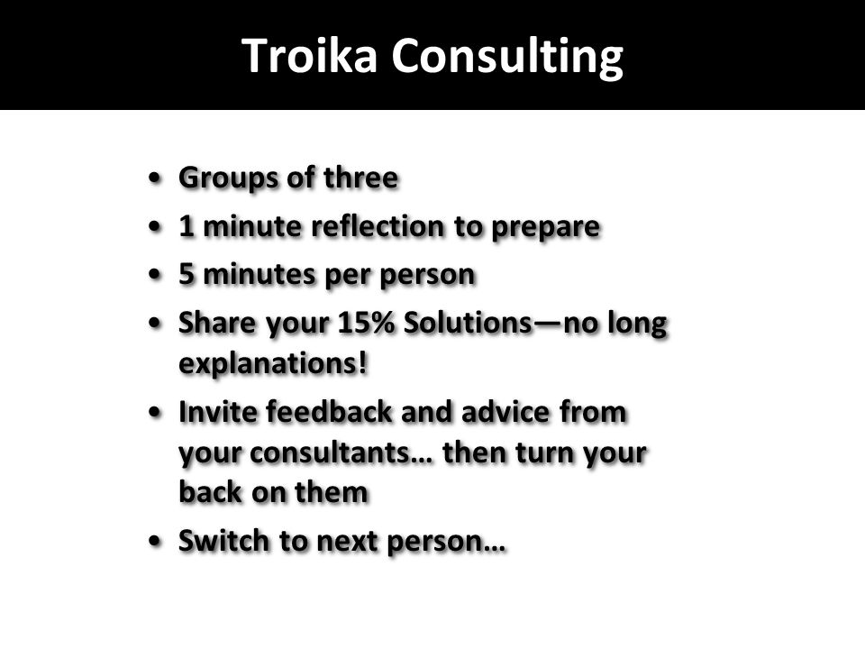 Troika Consulting Groups of three 1 minute reflection to prepare