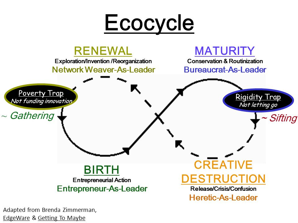 Ecocycle RENEWAL MATURITY CREATIVE DESTRUCTION BIRTH ~ Gathering