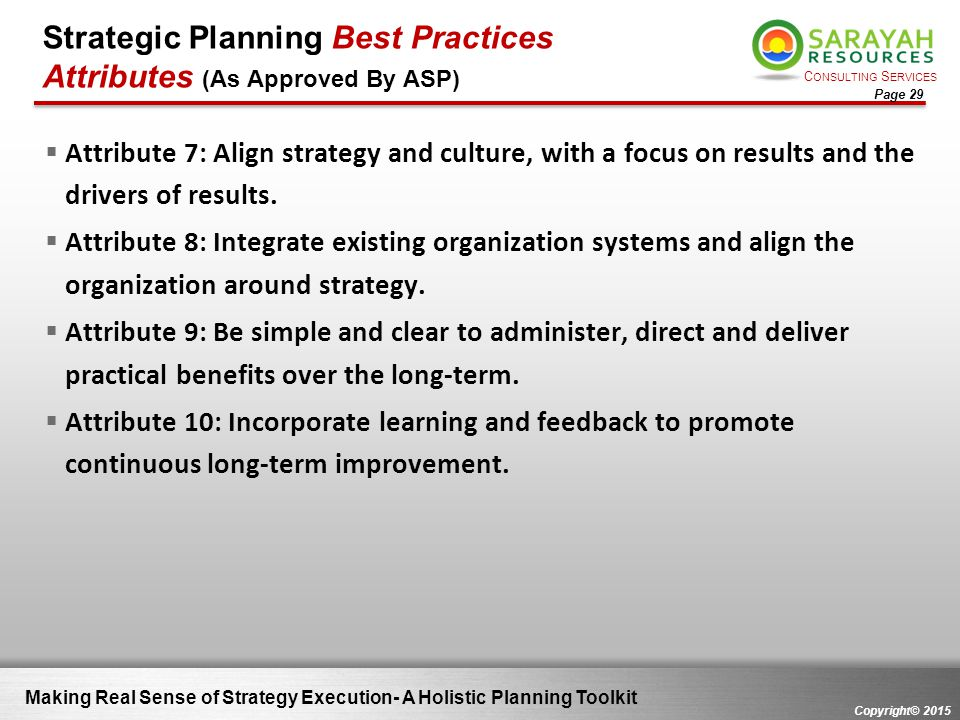 Strategic Planning Best Practices Attributes (As Approved By ASP)