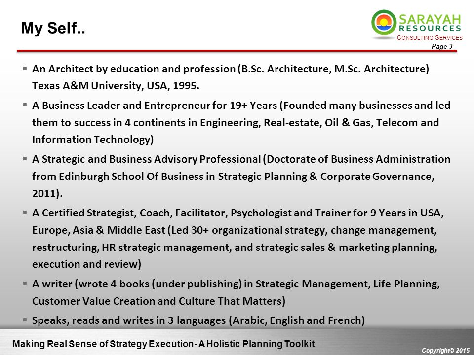 My Self.. An Architect by education and profession (B.Sc. Architecture, M.Sc. Architecture) Texas A&M University, USA, 1995.