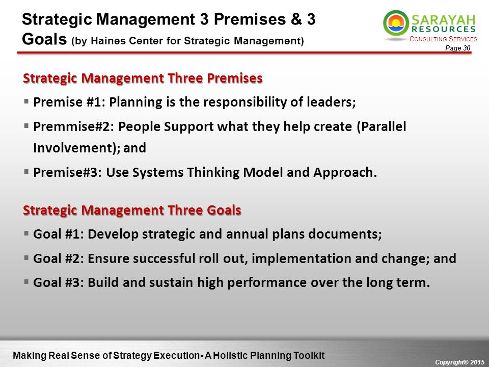 Strategic Management 3 Premises & 3 Goals (by Haines Center for Strategic Management)