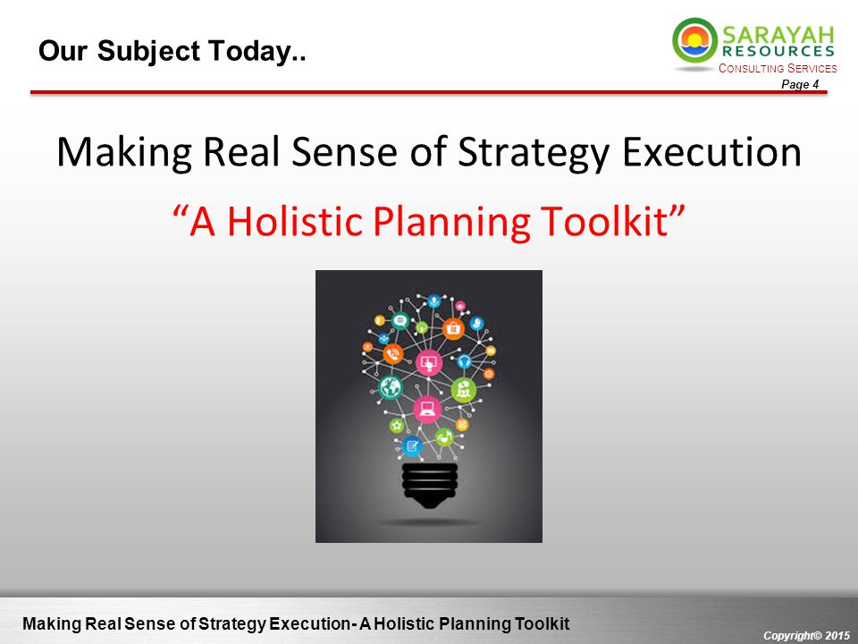 Making Real Sense of Strategy Execution A Holistic Planning Toolkit
