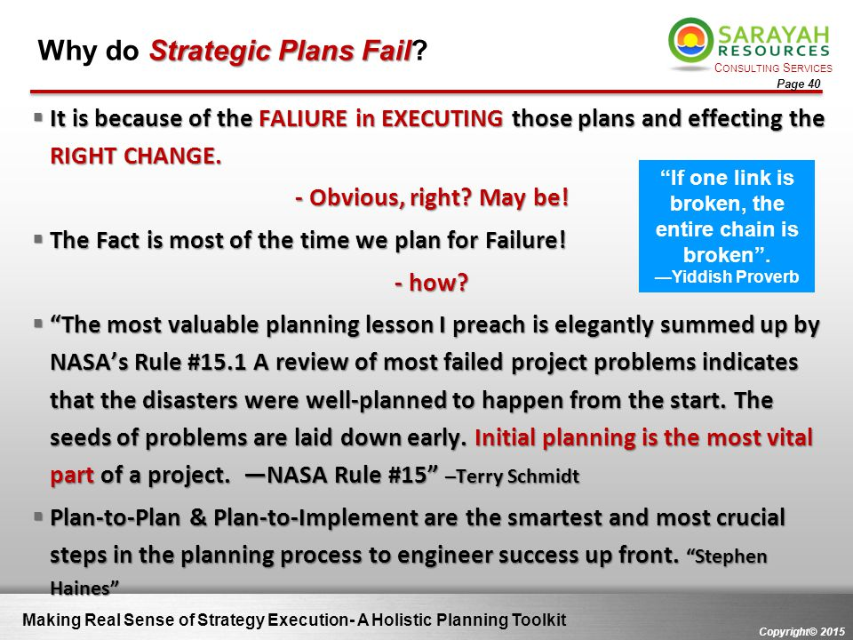 Why do Strategic Plans Fail
