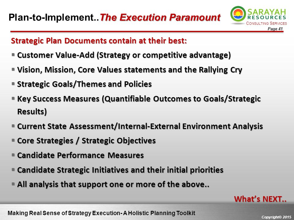 Plan-to-Implement..The Execution Paramount
