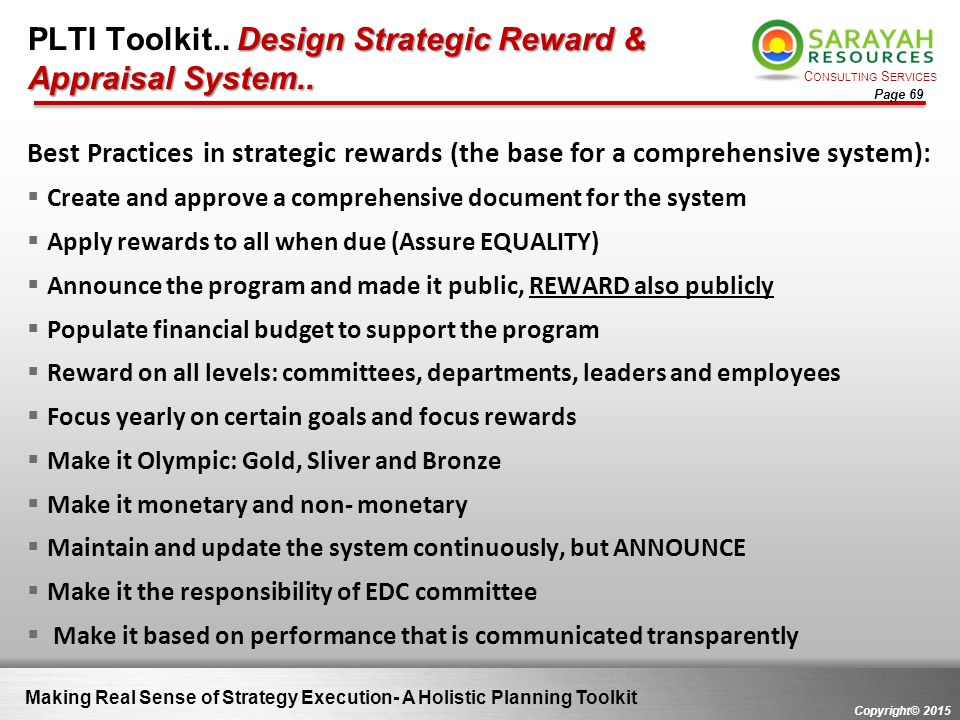 PLTI Toolkit.. Design Strategic Reward & Appraisal System..
