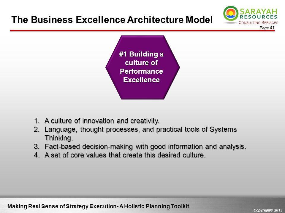 #1 Building a culture of Performance Excellence