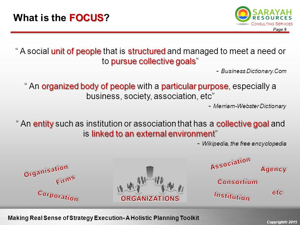 What is the FOCUS A social unit of people that is structured and managed to meet a need or to pursue collective goals