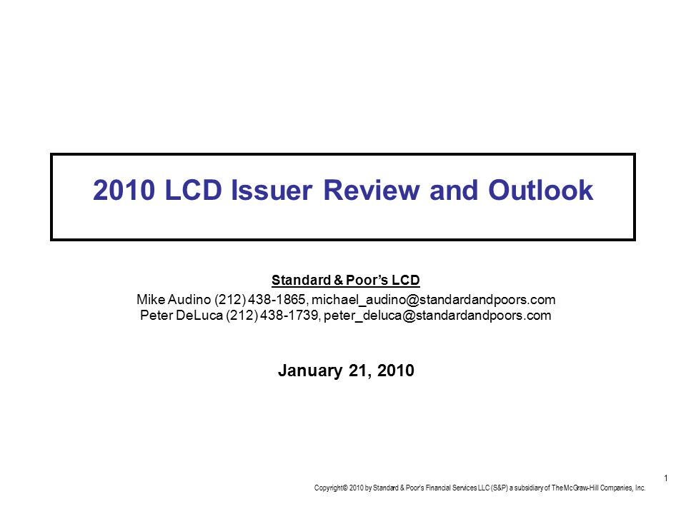 2010 LCD Issuer Review and Outlook