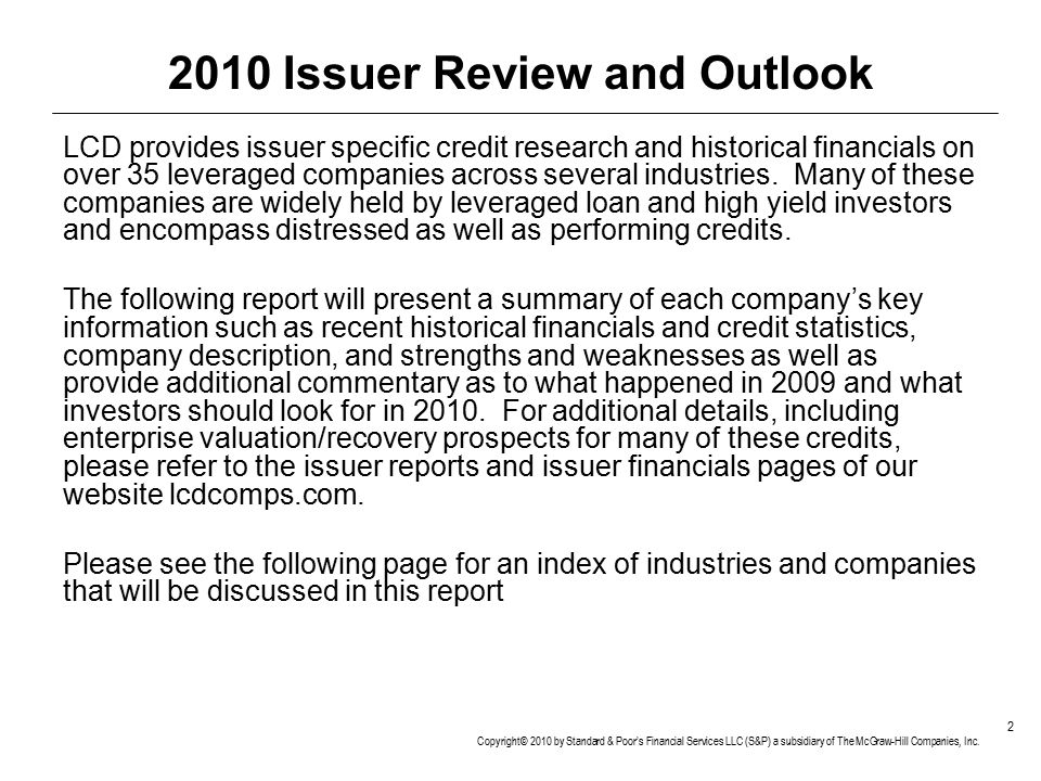 2010 Issuer Review and Outlook