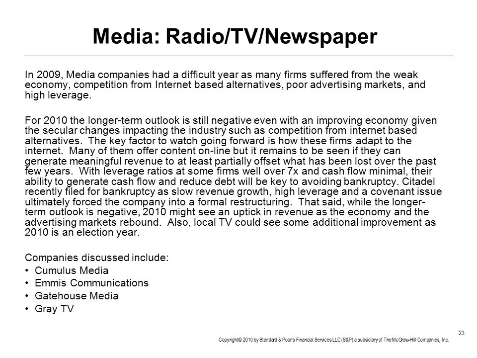 Media: Radio/TV/Newspaper