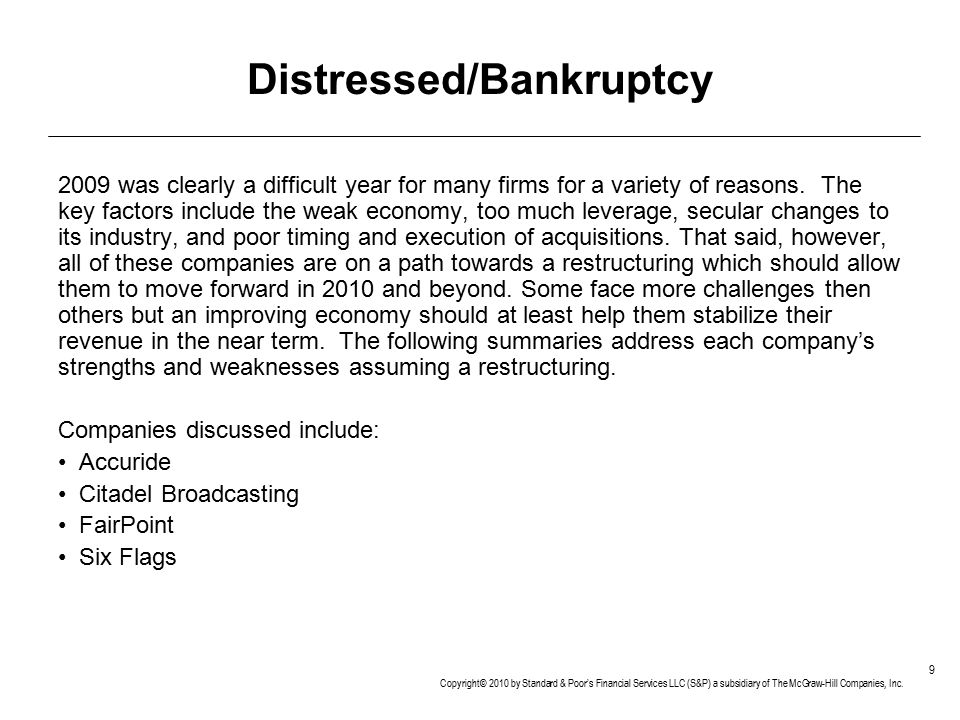 Distressed/Bankruptcy