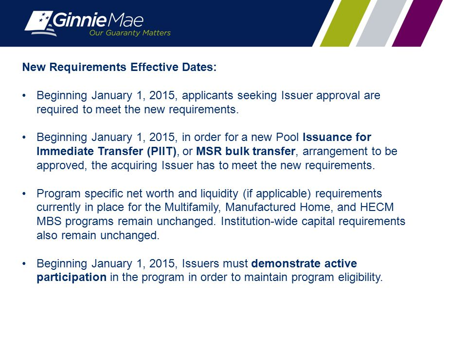 New Requirements Effective Dates: